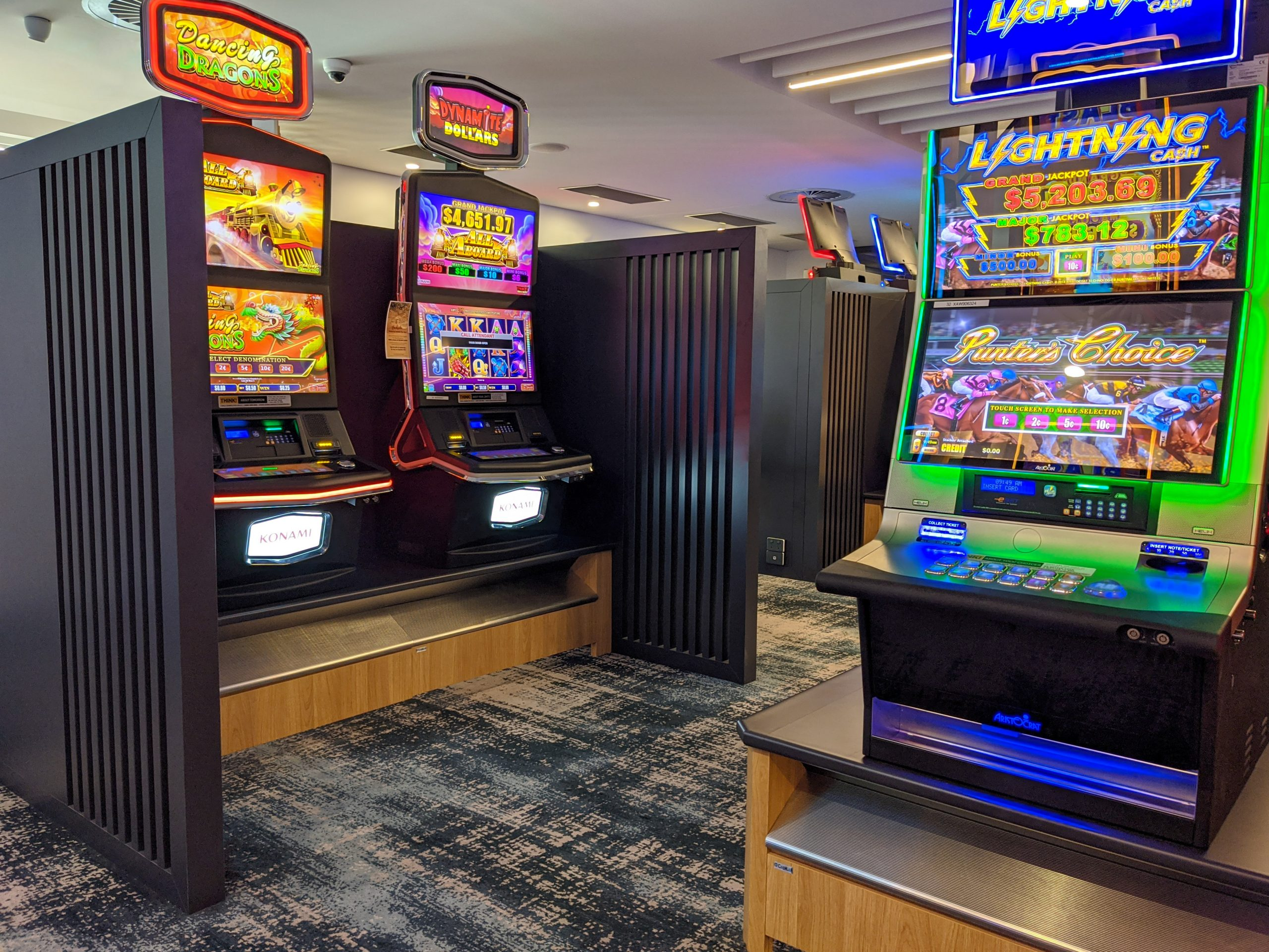 Indoor Gaming Room Machine Bases and Dividing Screens